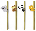 animal bamboo straws set 14