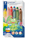 drvene bojice - staedtler buddy 3-in-1 colouring pencil 6 colours sharpener
